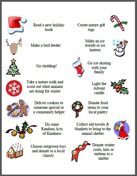 Advent Calendar List Ideas : Activities for your advent calendar free printables