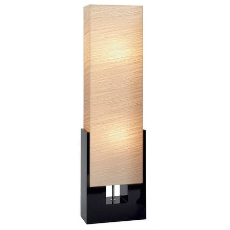 Floor Lamp With A Black Wood Base And Rectangular Fabric Shade