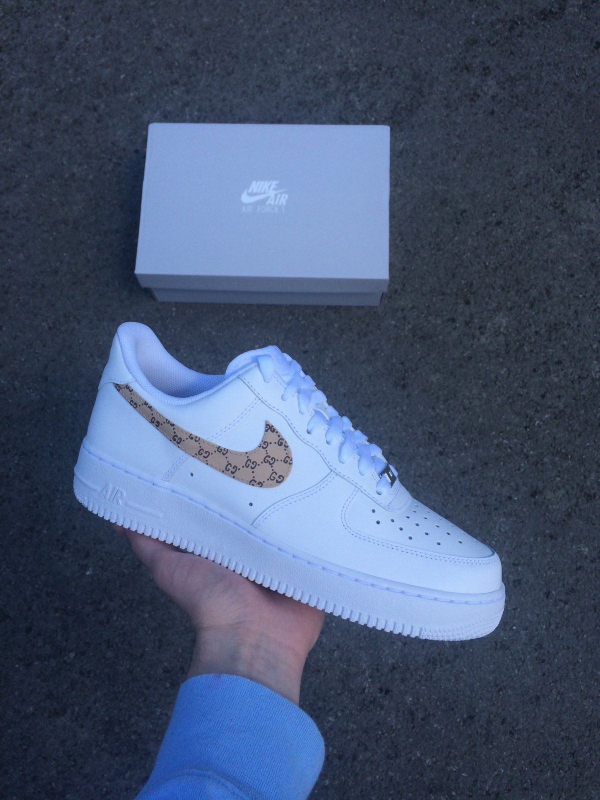new styles 2e34e b1f43 White Nike Air Force 1 with Gucci print over tick- Paint is crack