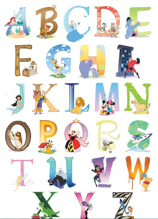 Disney Alphabet Chart For The Nursery Wall Decor Abc Bedroom