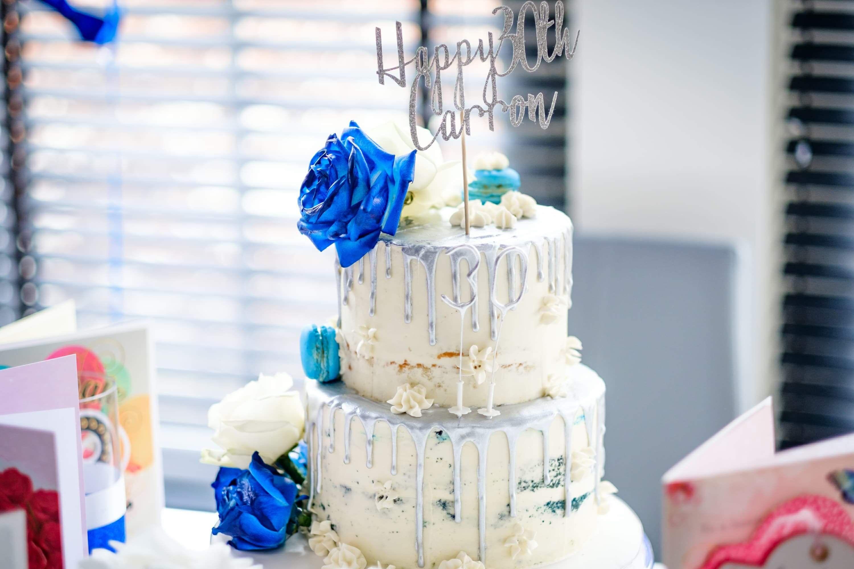 30th blue velvet silver drip birthday cake silver glitter