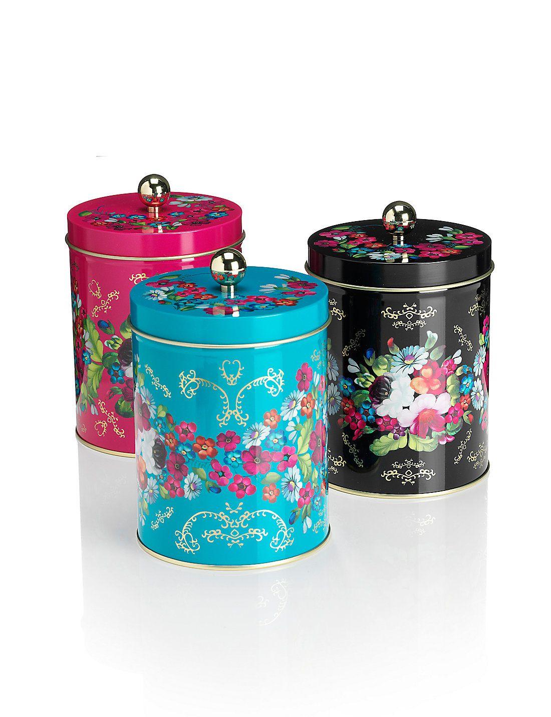 3 Pack Floral Tea, Coffee & Sugar Tins Marks & Spencer