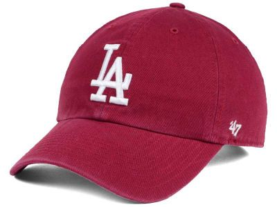 e21e57296a867 Los Angeles Dodgers  47 MLB Cardinal and White  47 CLEAN UP Cap ...