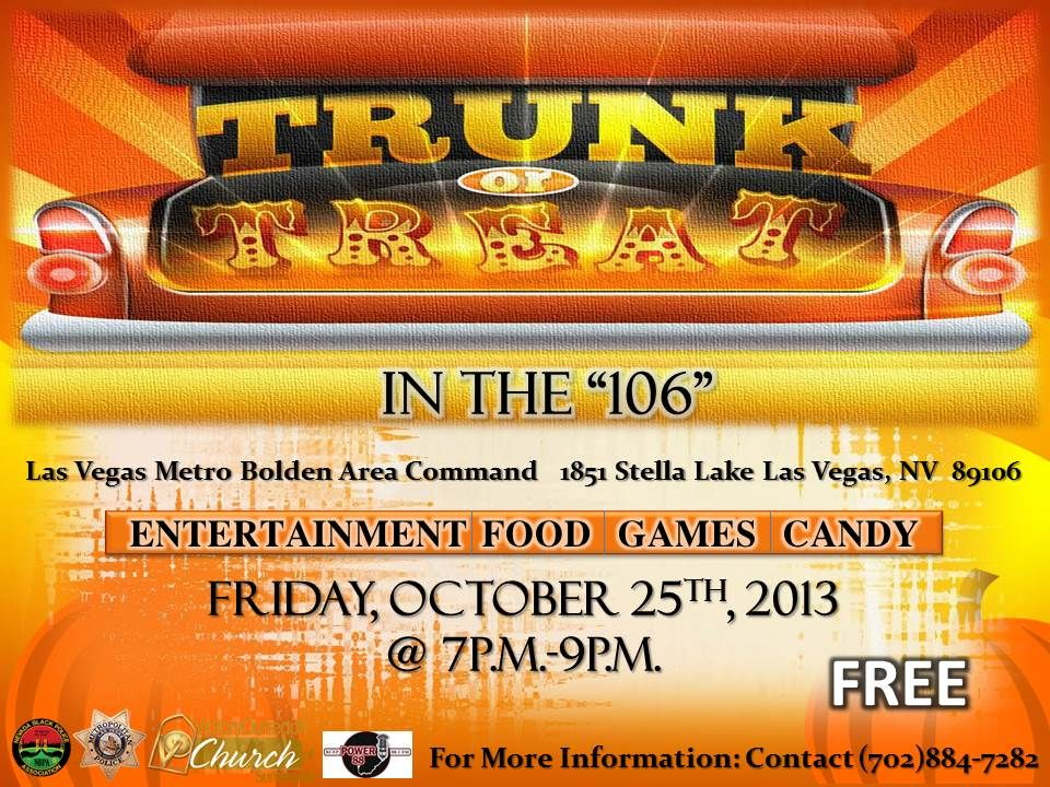 Trunk or Treat event Friday October 25th, 2013 at 700pm9