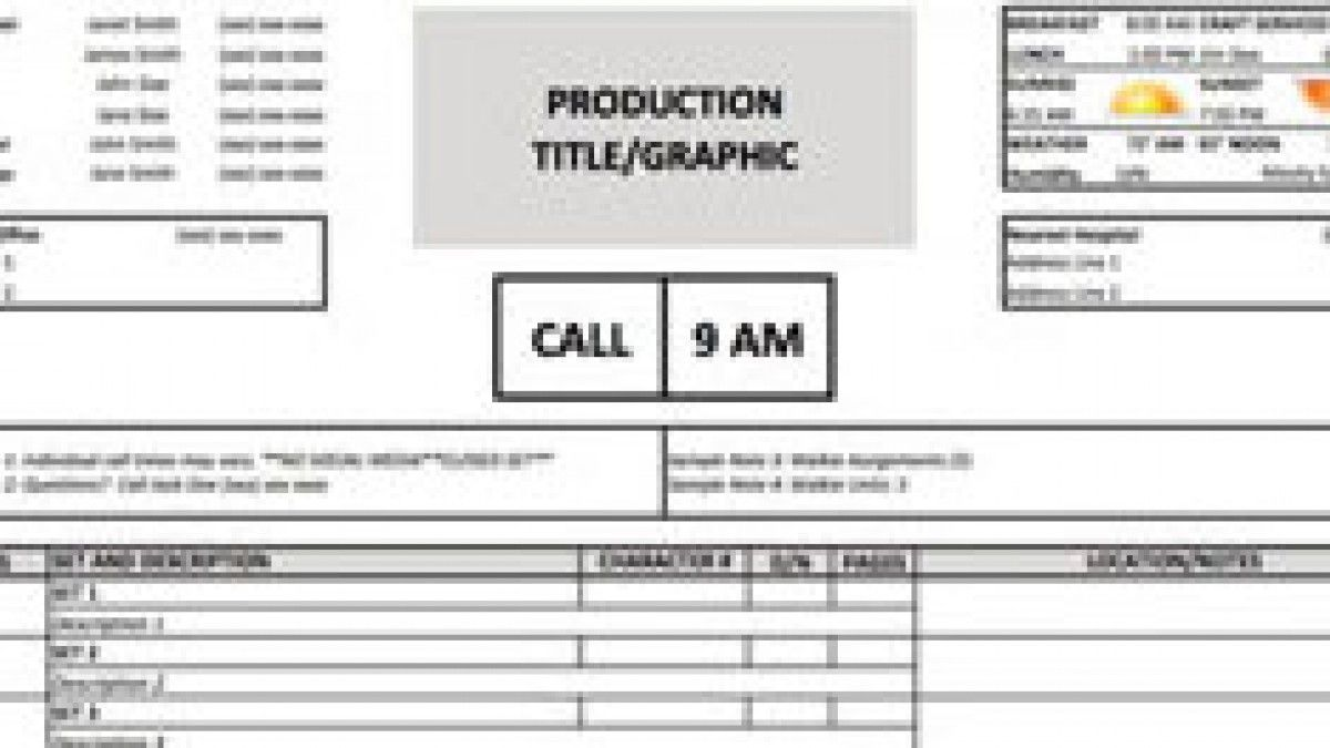 Download A Free Film Call Sheet Template And Stay On Schedule Spreadsheet Template How To Make Brochure Templates