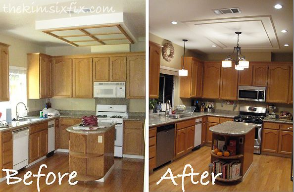 Replacing Updating Fluorescent Ceiling Box Lights With Ceiling Molding Fluorescent Kitchen