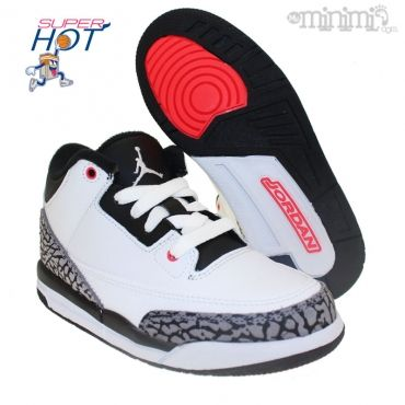 Photo Nike Air Jordan 3 retro - Baskets enfant du 28 au 35 - PS White Infrared #Jordan #nike #mode #enfant #streetwear #myminimi