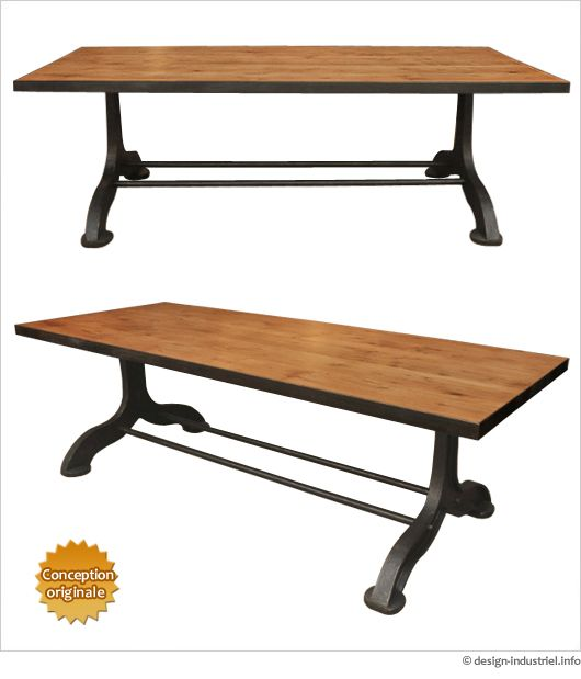 Grande Table Industrielle Pied En Fonte Plateau Bois Table Industrielle Grande Table Table