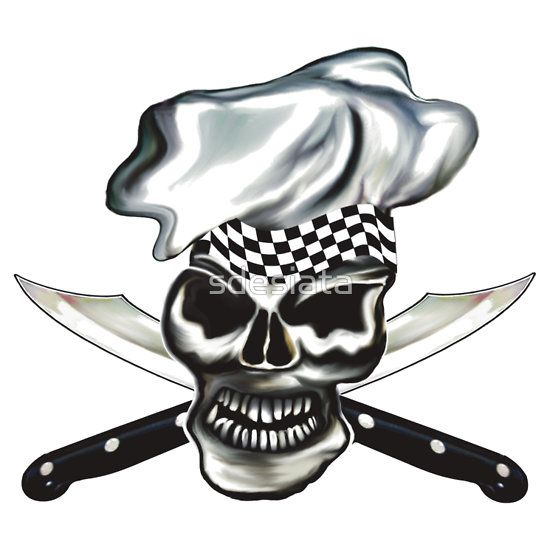 skull chef with chef knives t shirt skull chef pinterest knives. Black Bedroom Furniture Sets. Home Design Ideas