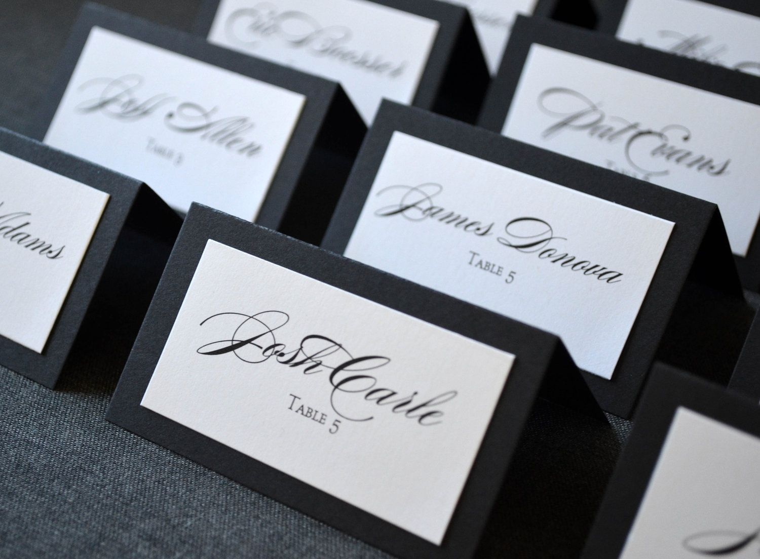 wedding table name card size%0A Items similar to Black and White Double Layered Escort Cards and Table  Numbers on Etsy