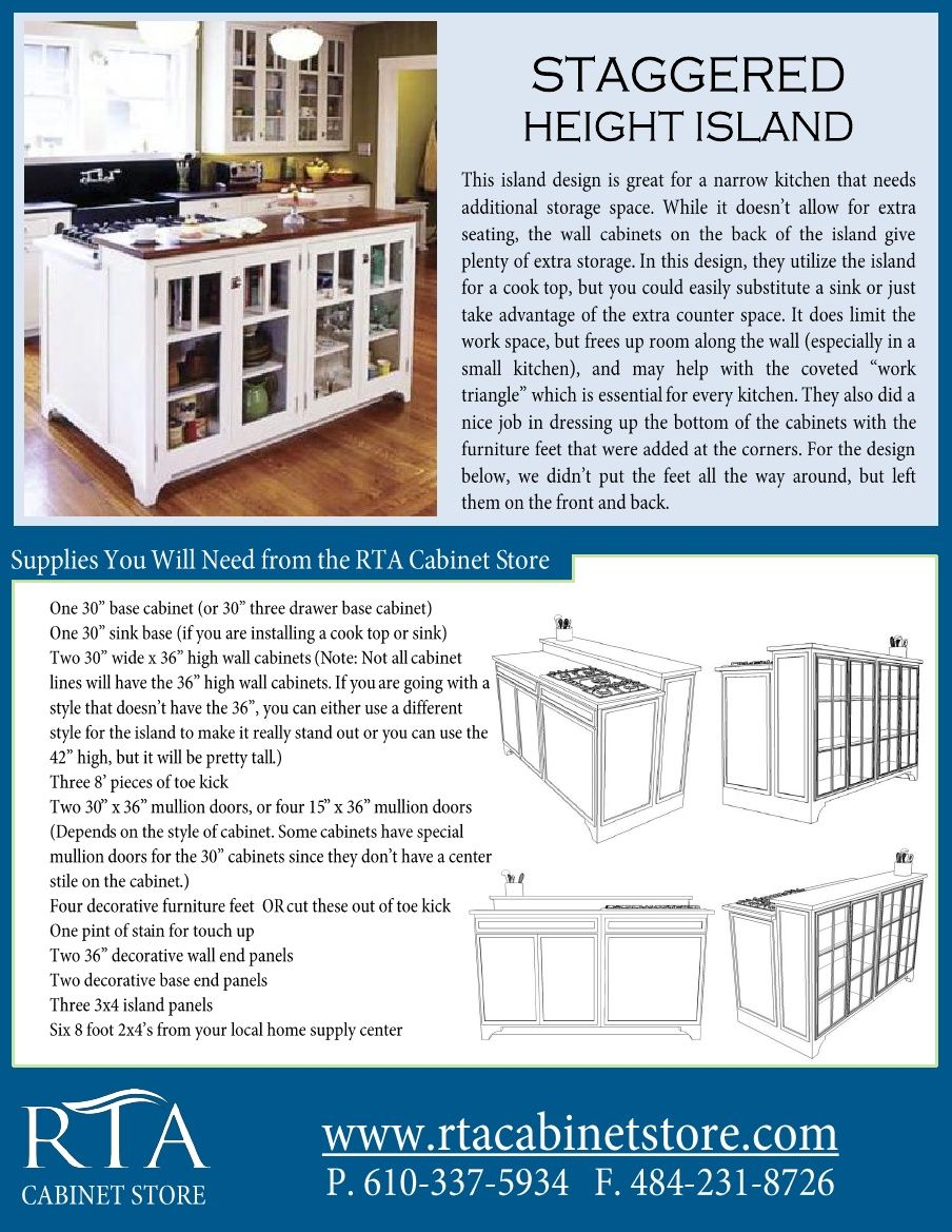 Creating A Staggered Height Kitchen Island Using Ready To Assemble Kitchen Cabinets Step By Step Assembled Kitchen Cabinets Staggered Cabinets Kitchen Design