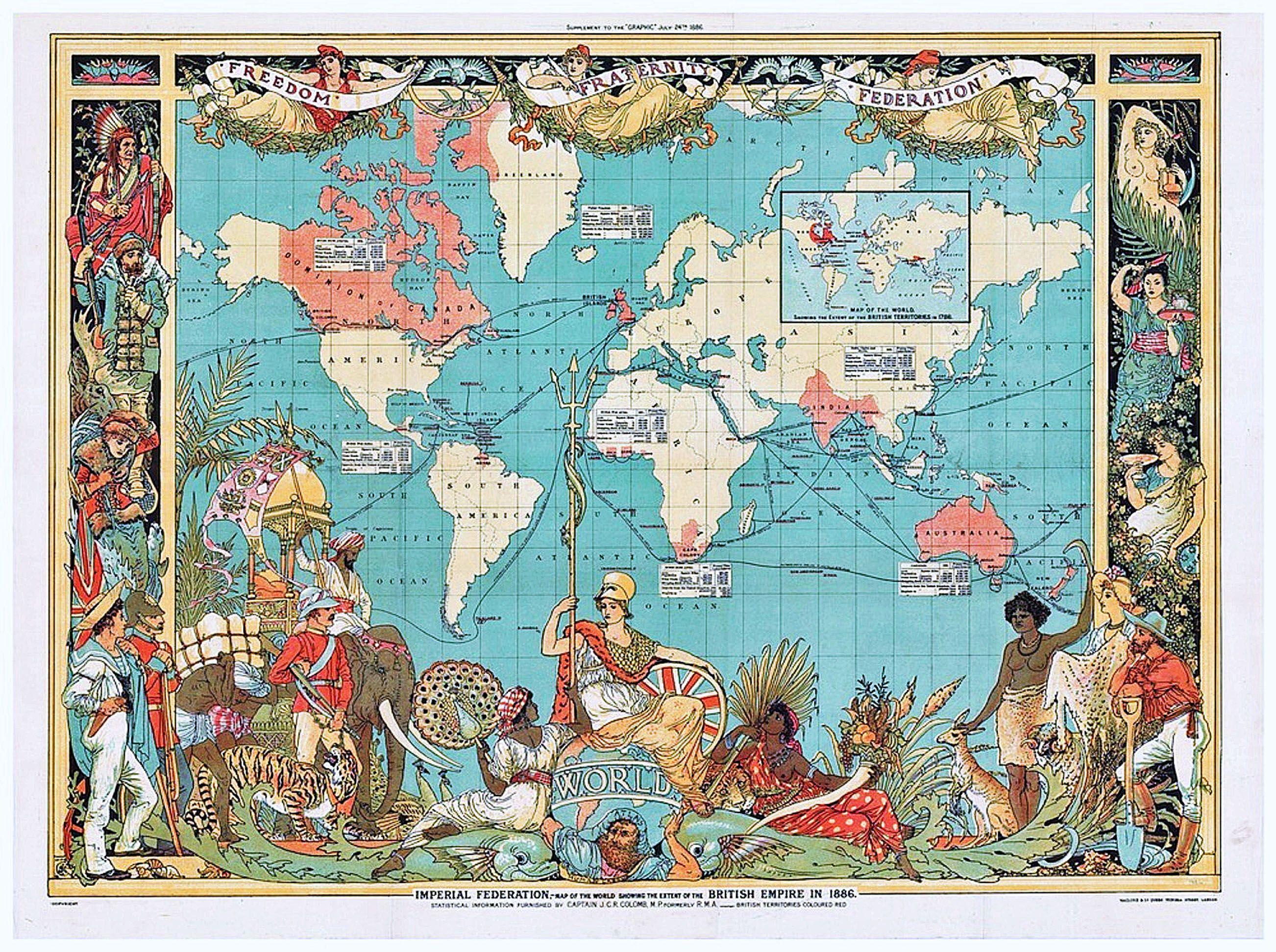 British empire 1886 artist empire vintage world maps