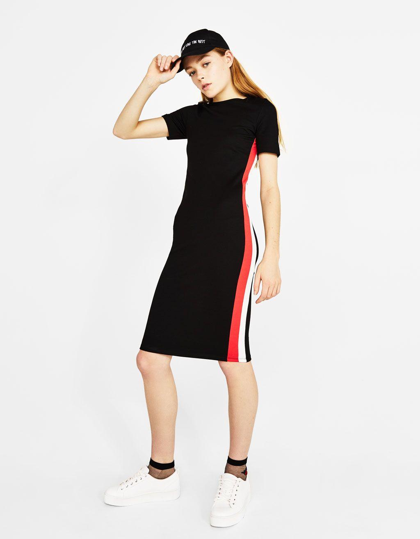 Midi dress with side stripes