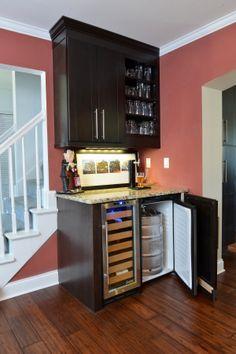 small custom wet bar with wine fridge - Google Search | Bar Idea ...