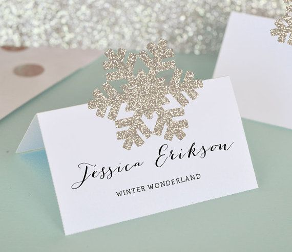 Snowflake Place Cards Snowflake Gift Tags DIY Winter By