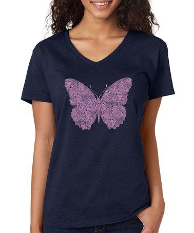 Look what I found on #zulily! Navy Butterfly V-Neck Tee - Plus #zulilyfinds