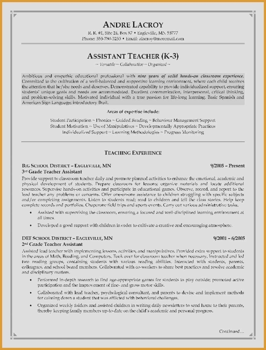 Teaching assistant Resume Sample Elegant Unique Examples