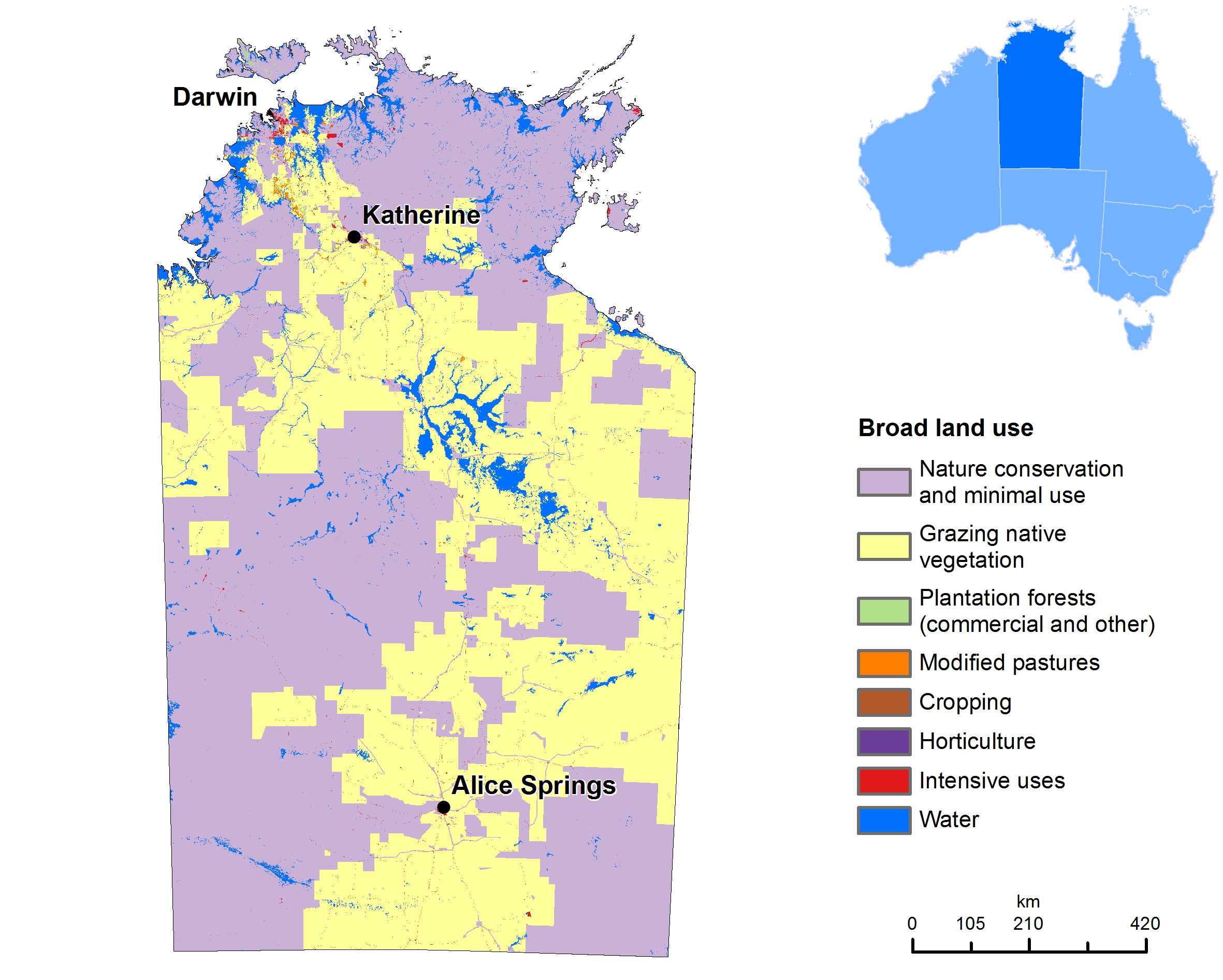 Map Northern Australia.Land Use Map Of The Northern Territory Maps Of Australia