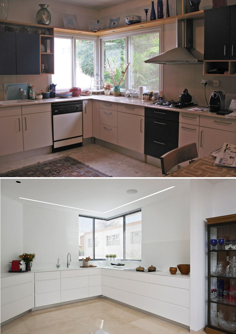 Before And After A Contemporary Update For A 1980s House Kitchen Renovation Kitchen Interior Kitchen Layout