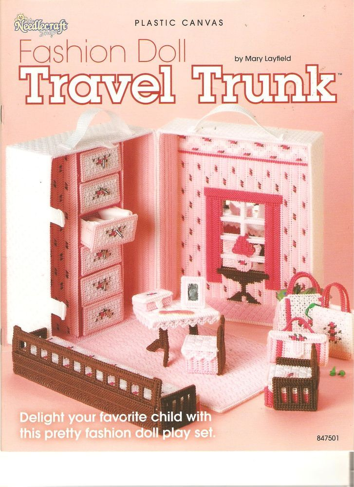 "NEEDLECRAFT*SHOP FASHION*DOLL ""TRAVEL*TRUNK"" PLASTIC~CANVAS PATTERN BOOK#847501"