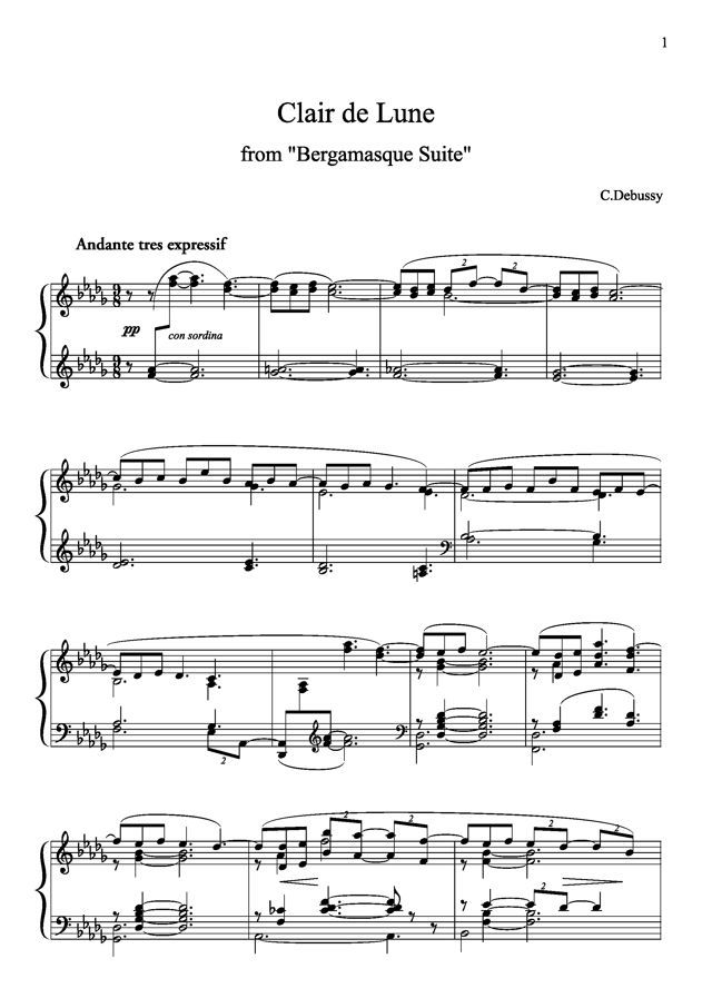 Piano free piano sheet music clair de lune : Clair de Lune sheet music} learn to play this year. | I shall ...