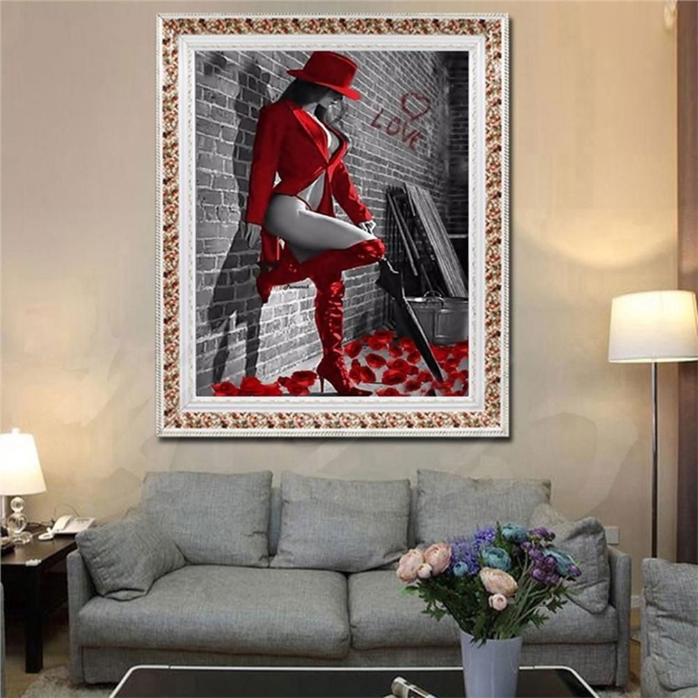 Photo of Beauty Lady 5D DIY Diamond Embroidery Painting Home Room Cross Stitch Wall Decor – Green