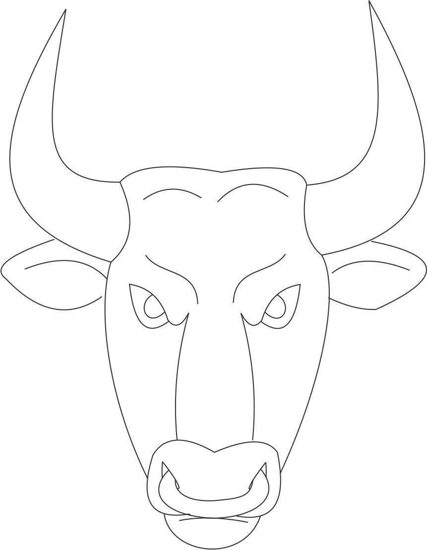 Bull mask printable coloring page