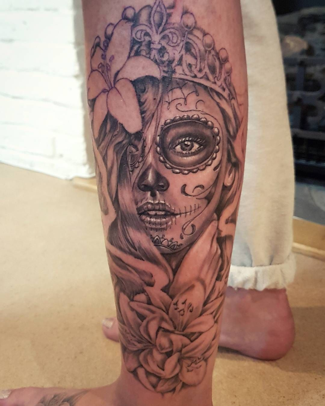 296c56983 Day Of The Dead Tattoo Sleeve, Day Of The Dead Girl Tattoo, Girls With