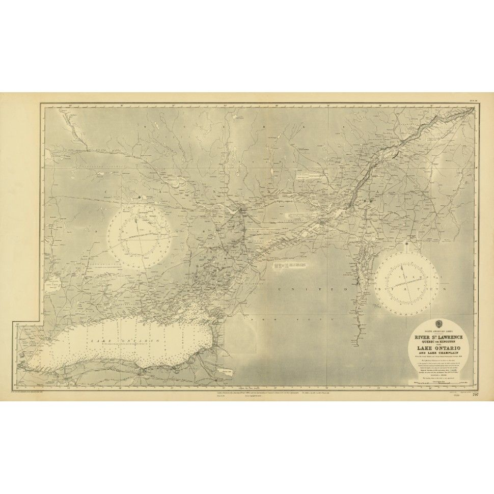 Vintage Maps of the Great Lakes. Map art for wall decoration and ...