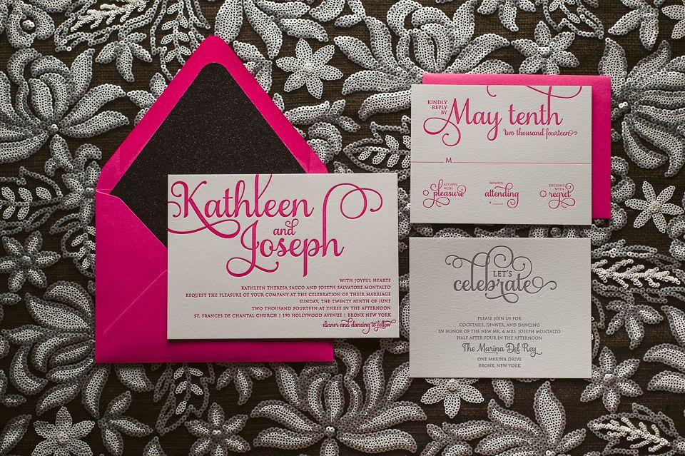 Hot Pink and Black Glitter Wedding Invitations | wedding | Pinterest ...