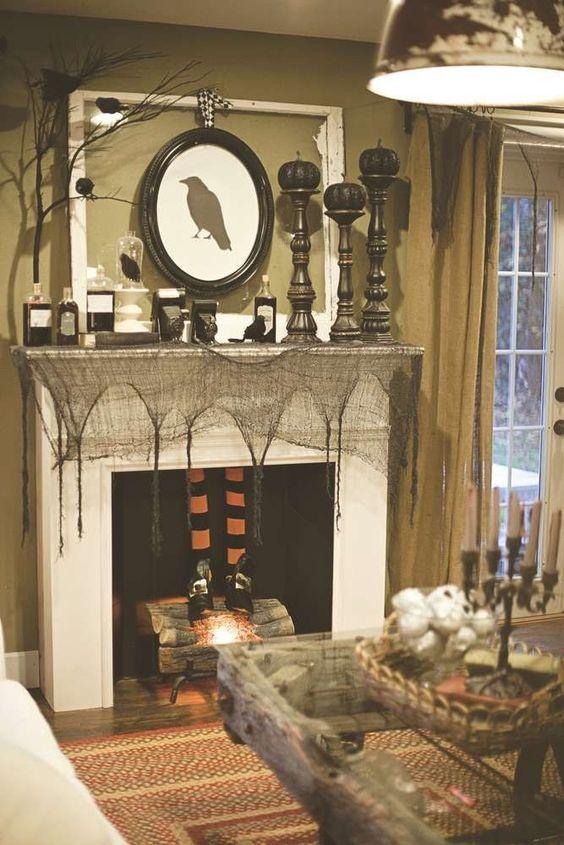 Crow Photo Black Mesh Pumpkin Halloween Fireplace Party Ideas