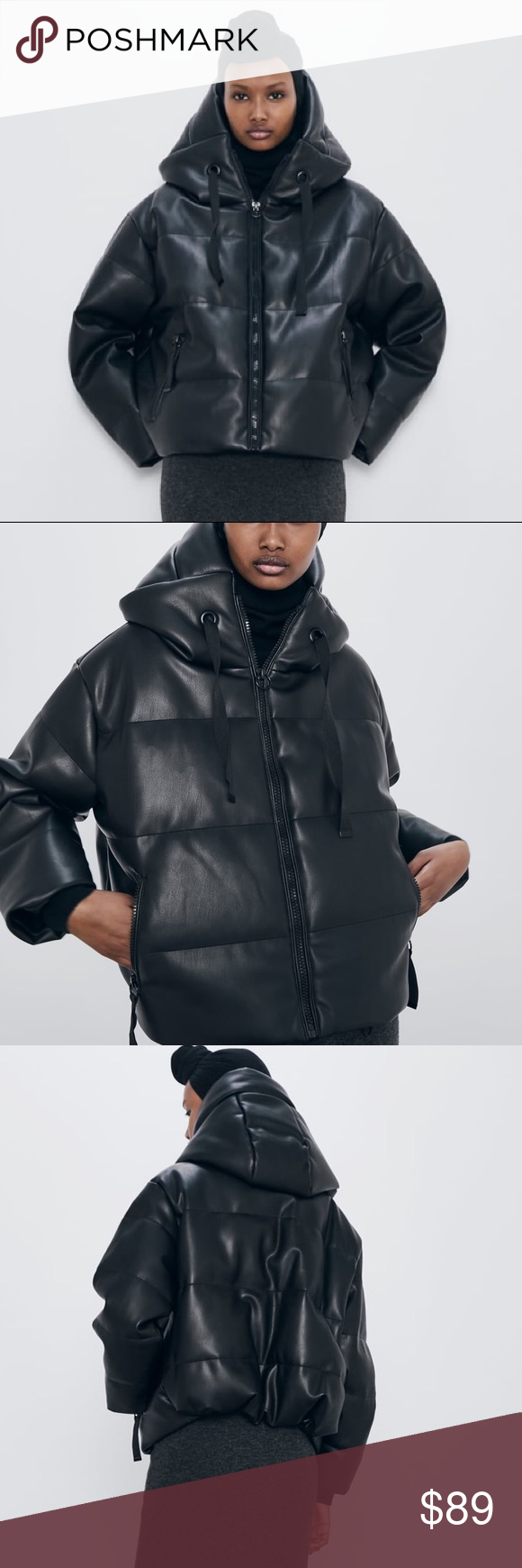 Zara Faux Leather Puffer Jacket Leather Jacket Leather Puffer Jacket Zara [ 1740 x 580 Pixel ]