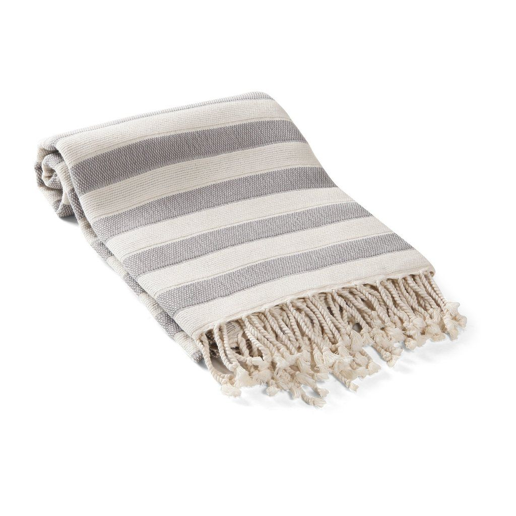 Amalfi Awning Stripe Turkish Towel Throw Is Handwoven From The Finest Turkish Cotton Fibers The Fringes Are All Turkish Towels Striped Towels Turkish Cotton