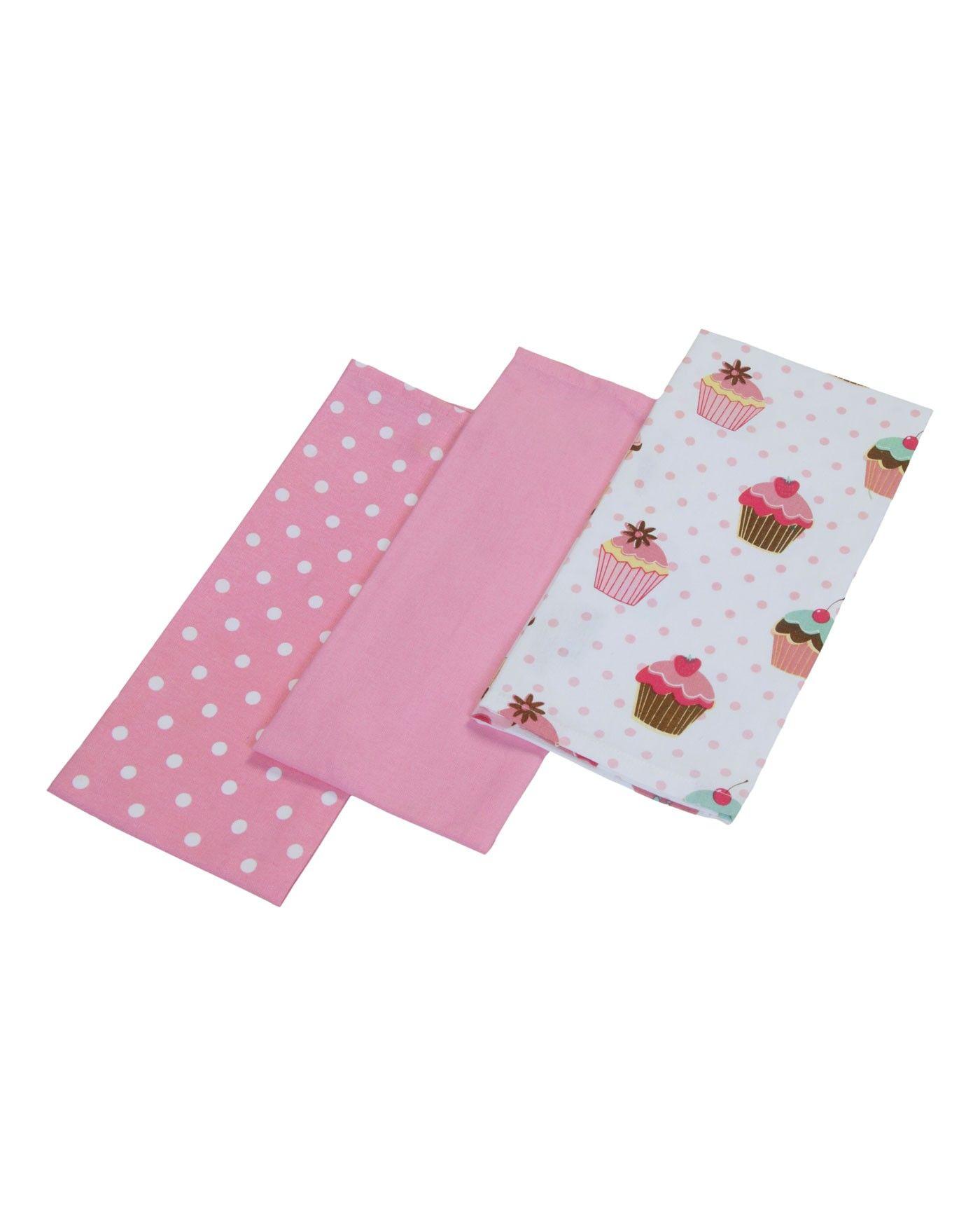 Cotton Cupcakes Pink Blue Kitchen Linen Tea Towels Pink
