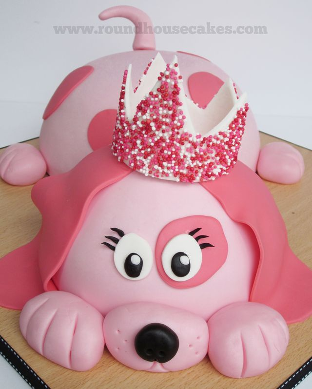 Pink Dog Cake Idea Great You Could Do It In Or Blue With A Big Collar Instead Of Crown Bone That Would Be Cute