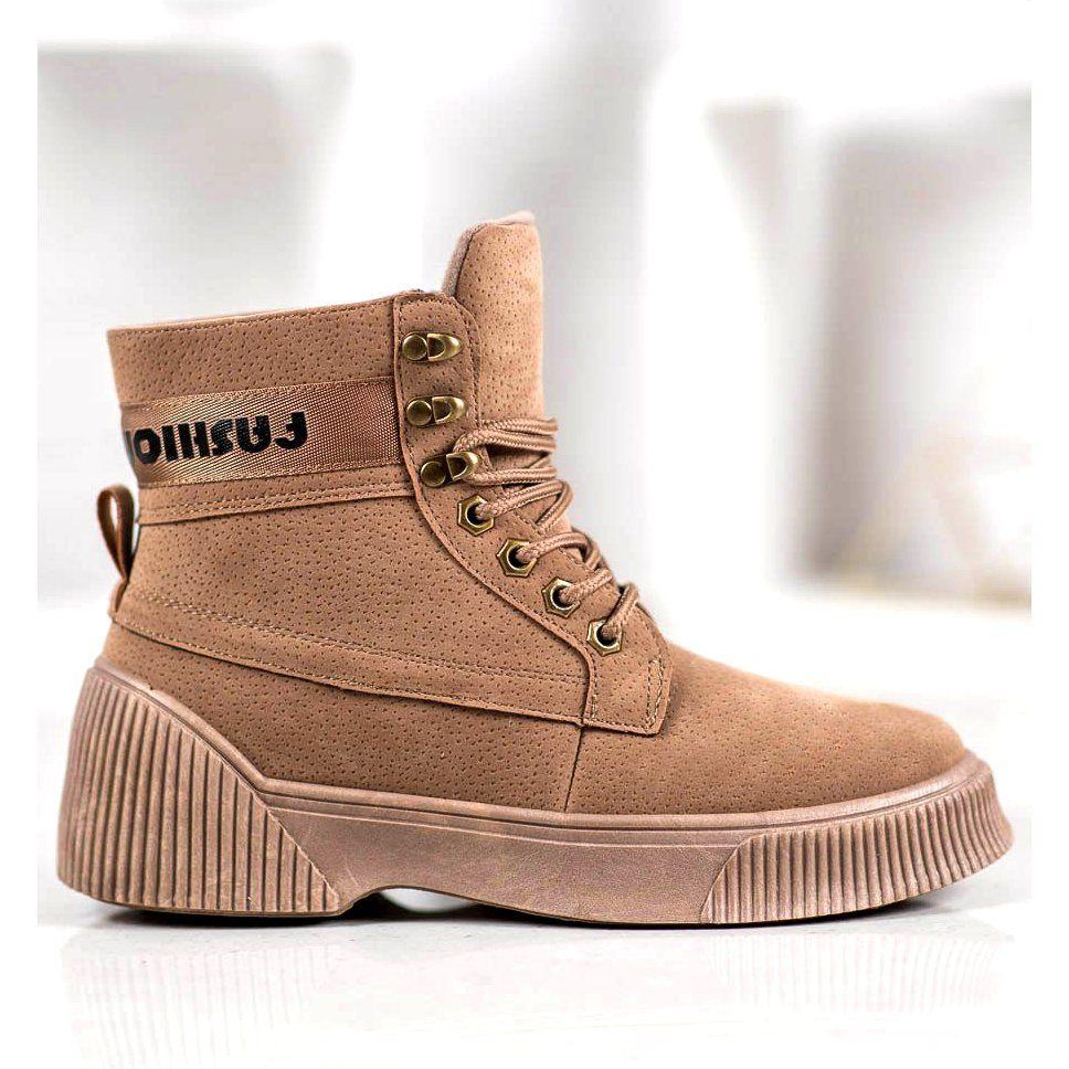 Yes Mile Wiazane Botki Fashion Brazowe Fashion Boots Shoes