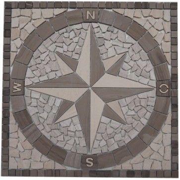 Mozaïek tegel marmer medallion windroos 60x60 cm | Marmersoort ...
