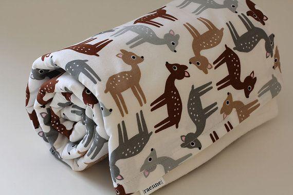 Baby Blanket Autumn Deers Baby Bedding Baby Blankie by raenne