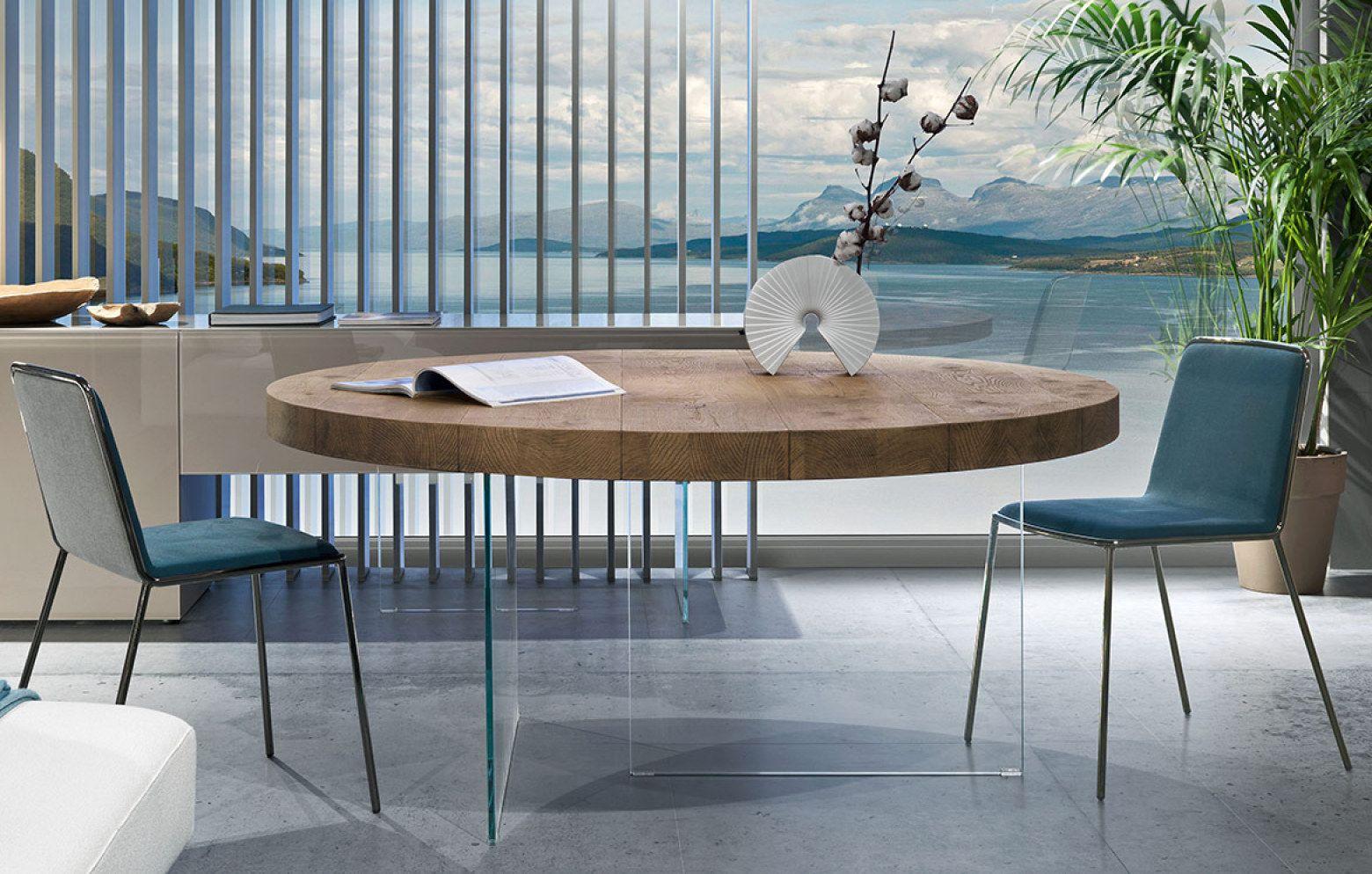 Der Esstisch Air Wildwood Round Wirkt Durch Die Beine Aus Kristallglas Besonders Leicht Und Scheint Zu Schweben Die Wohnzimmertische Esstisch Tischplatte Rund