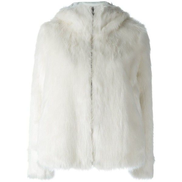 Dondup Faux Fur Zip Up Jacket 389 Liked On Polyvore Featuring Outerwear Jackets White White Faux F White Faux Fur Jacket Faux Fur Jacket White Faux Fur