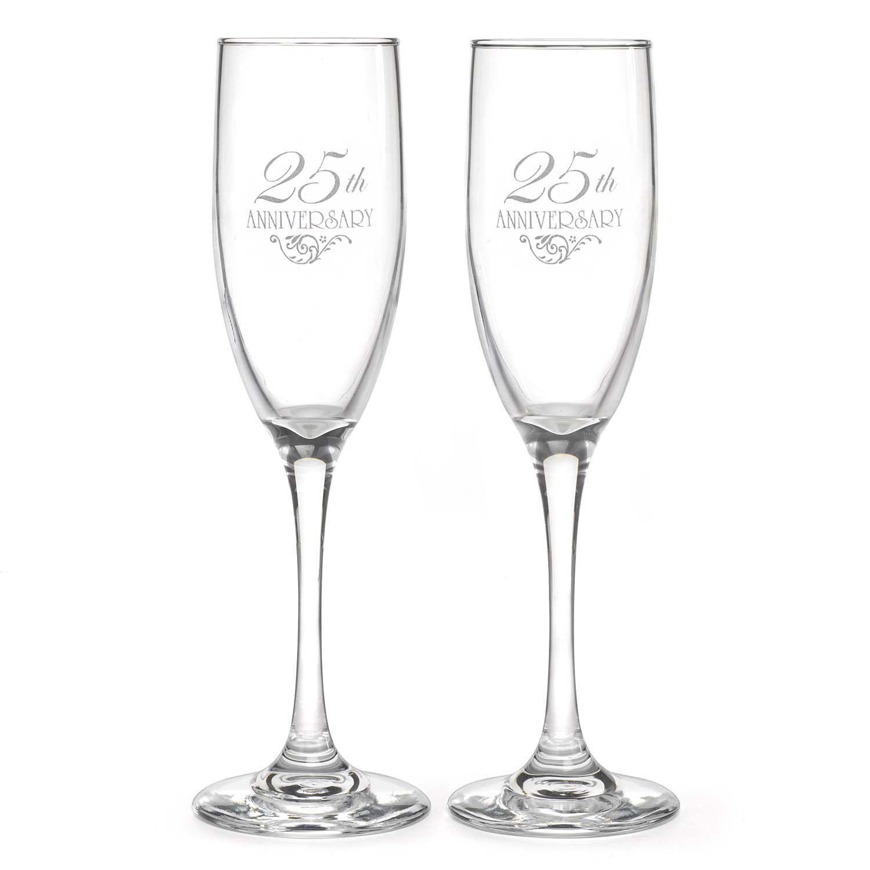 25th Wedding Anniversary Champagne Flutes   25 wedding anniversary ...
