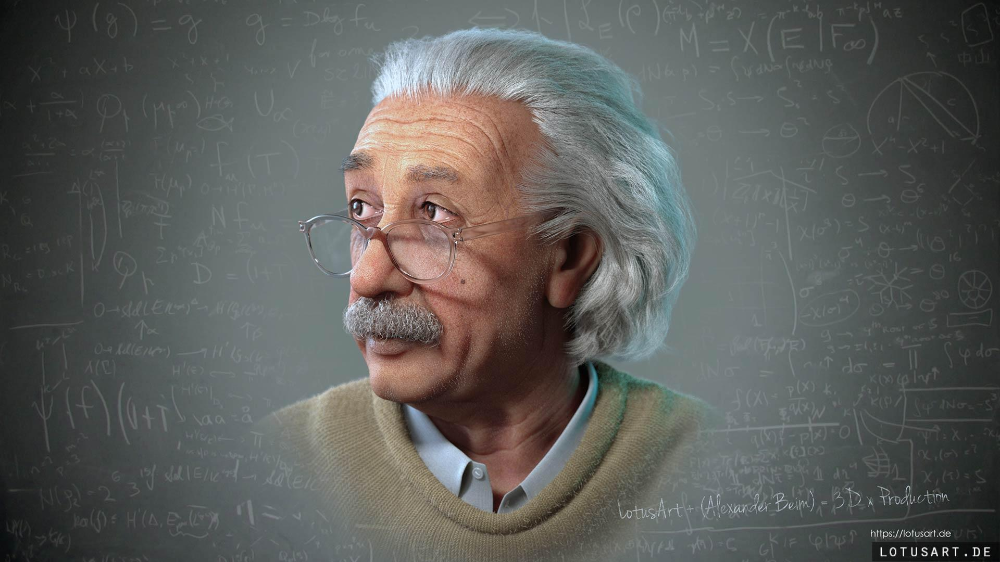 Albert Einstein 3D Porträt für ein Hologram