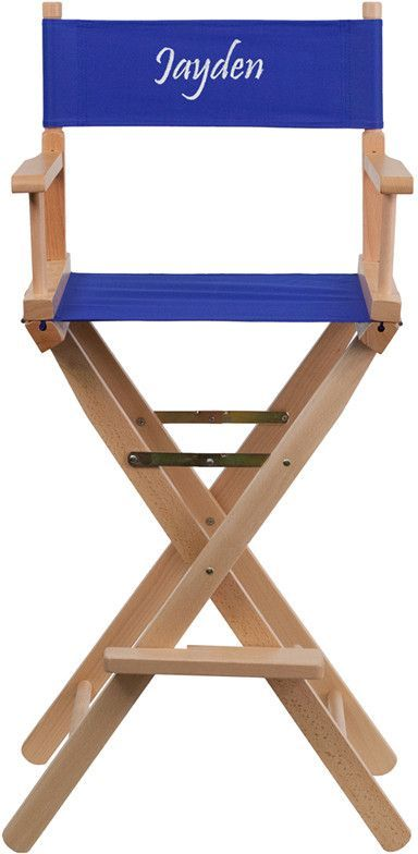 Flash Furniture TYD01-BL-TXTEMB-GG Personalized Bar Height Directors Chair in Blue