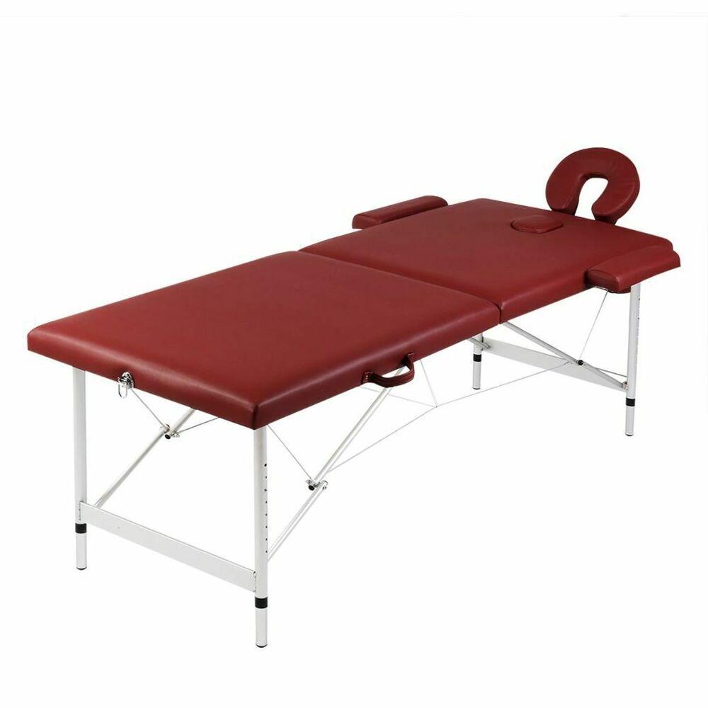 Vidaxl Table De Massage Pliante Lit De Massage 2 Zones Rouge Cadre Aluminium Sac Massage Table Massage Foldables