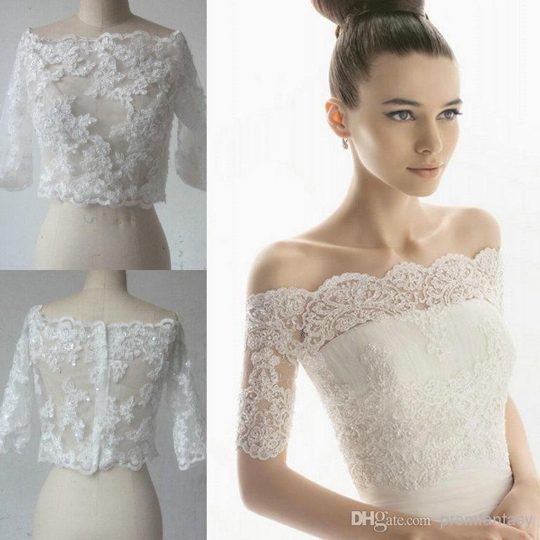 2016 Cheap Real Image Free Shipping Off Shoulder Vintage Short Sleeves White Ivory Beaded Lace Bolero Wedding Jackets Bridal Wraps Sale New