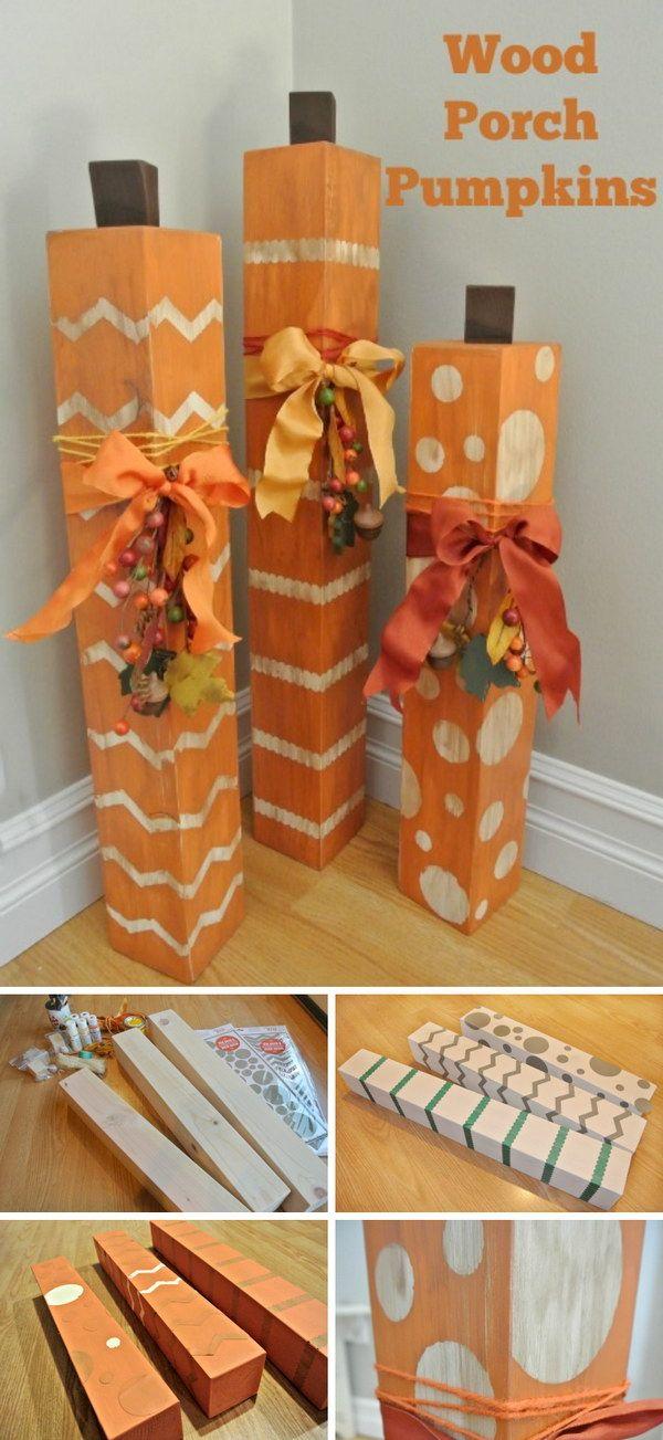 DIY Porch Wood Pumpkins. … Diy fall, Fall crafts, Porch