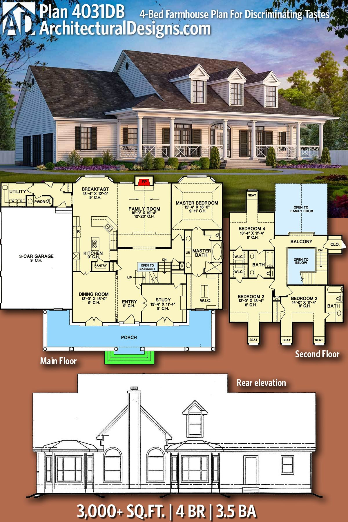 Plan 4031DB 4Bed Farmhouse Plan For Discriminating