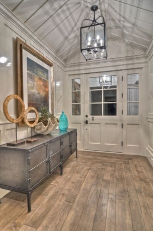 Charmant Cottage Entryway With Chair Rail, Wainscotting, Glass Panel Door, Paint 1,  Polyvore Industrial Console Table, Exposed Beam