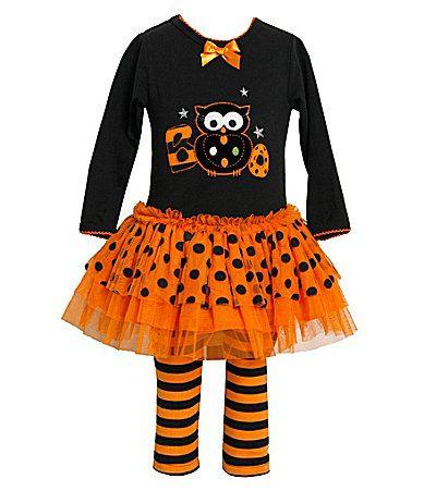 Bonnie Jean Girls Little Two Piece Halloween Appliqued Dress and Legging Set