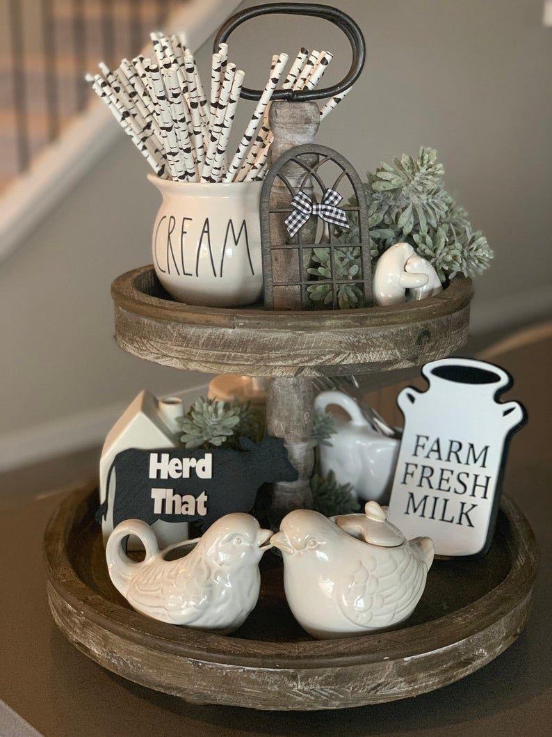 Farmhouse Tiered Tray Decor   Home Decor  Farmhous